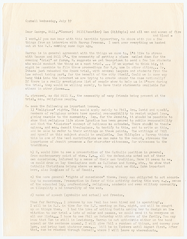 A letter from Daniel Berrigan to George, Bill O'Connor, Bill Kunstler and Dan Kilfoyle, July 17, 1968