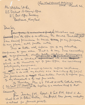Letter from Daniel Berrigan to Stephen Sachs of March 26, 1969