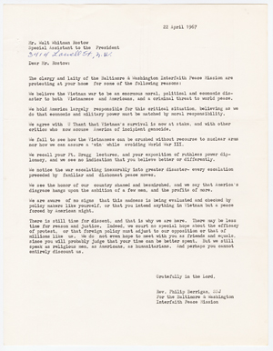 Letter from Philip Berrigan to Walt Whitman Rostow, April 22, 1967.