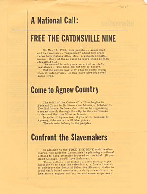 A national call: free the Catonsville Nine