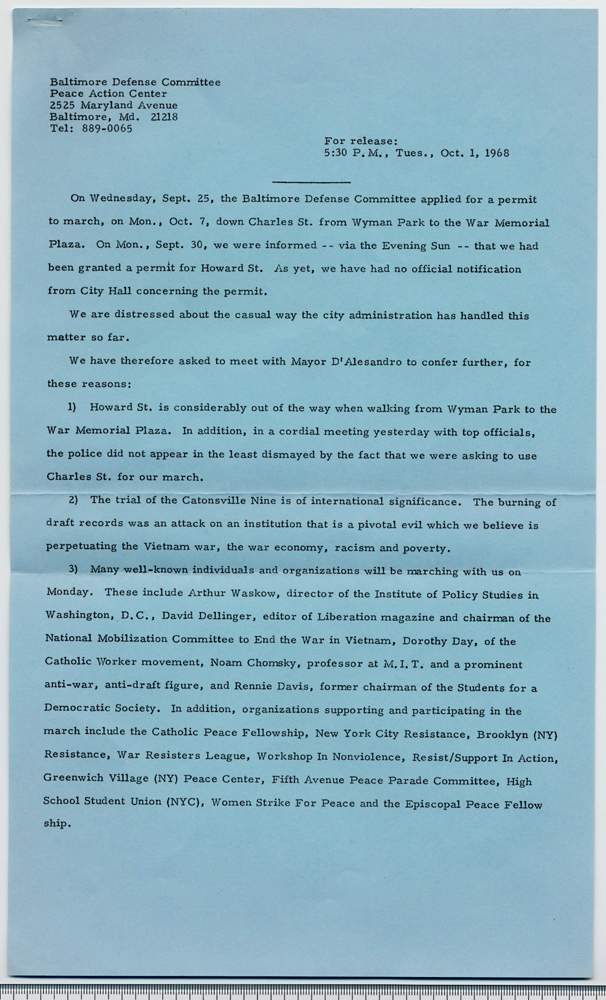 Baltimore Defense Committee, Press release, Oct. 1, 1968