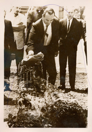 Members of the Catonsville Nine standing at the burning of the draft records site, May 17, 1968